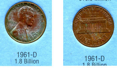 1961 D ABE Lincoln Memorial AMERICAN PENNY 1 CENT US U.S AMERICA ONE COIN #B2