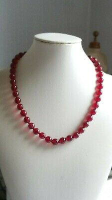 Czech Vintage Art Deco Hand Knotted Ruby Red Glass Bead Necklace
