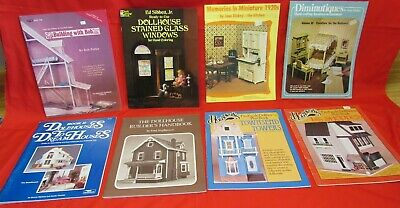 Lot~8 Dollhouse Books, Building Plans, Furniture~Houses~Patterns~ Stained Glass