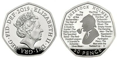 Sherlock Holmes 50p Silver Money 2019 Brand New From Minted Bag UNCIRCULATED New