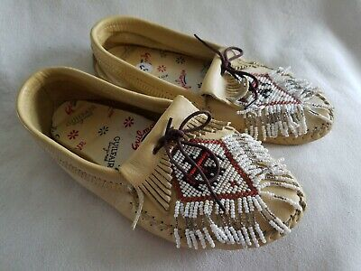 Vintage Guilfair Guilmox Leather Moccasins With Beading Children's Shoe 5.5