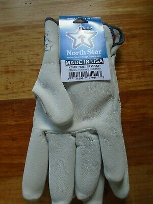 Silver Leather Goatskin Work Gloves 1 pair puncture Resistant Made in the USA