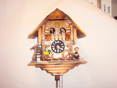 Black Forest Animated Dancing Swiss Chalet Musical Cuckoo Clock Germany