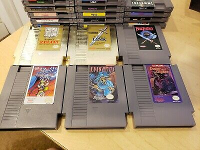 Lot of (22) Vintage NES Games All Working RARE Titles! Uninvited & Arkistas Ring