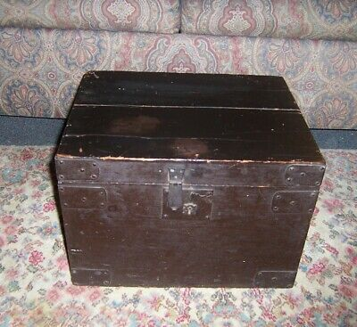 Antique small hat size Travel Trunk by G. London. Makers wood with metal neat