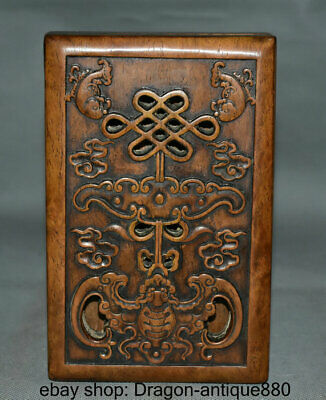 """7.2"""" Old Chinese Wood Dynasty Carving Double Fish Bat inkslab inkstone Box Set"""