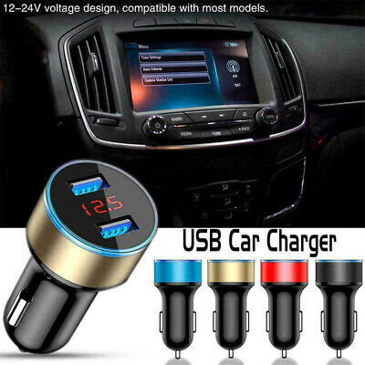 Dual USB Car Charger Adapter 2 Port LCD Display 12-24V Cigarette Socket Light