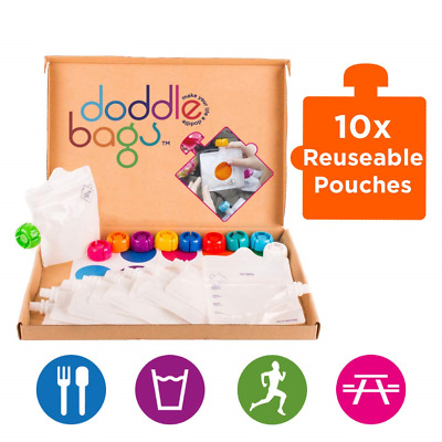 Doddlebags 10 Reusable Pouches, Easy Fill & Clean for Travel, Sport, Baby Food,