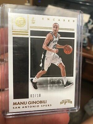 2017-18 Panini Encased Manu Ginobili #D /10 San Antonio Spurs 17-18 Encased Sp