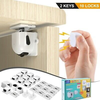 Magnetic Cabinet Lock Baby Safety Kit Invisible Child Proof Cupboard Drawer Door