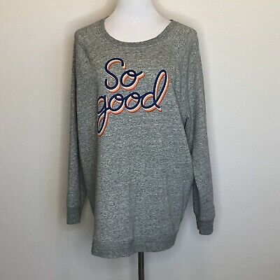 Old Navy So Good Gray Graphic Sweatshirt Banded Sleeves & Waist Size XXLarge