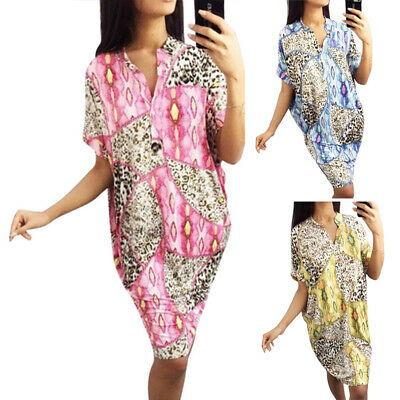 Womens Dress Party Summer V Neck Fashion Dress Holiday Retro Cocktail Baggy