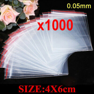 1000pcs 4X6cm Ziplock Clear Poly Bags Reclosable Plastic Jewelry Baggies