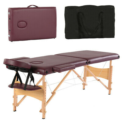 2 Foldable Massage Table Facial SPA Bed Chair with Free Carry Case Wine Red