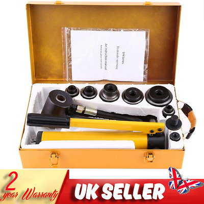 Hydraulic Knockout Hole Punch Driver Kit Hand Pump Tool 10 Ton 6 Dies 22-60mm