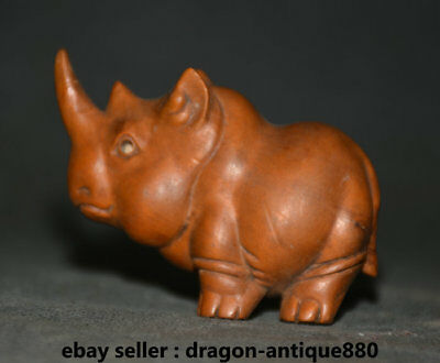7CM Old Chinese Bamboo Wood Carving rhinoceros Cattle Ox Bull Statue Sculpture