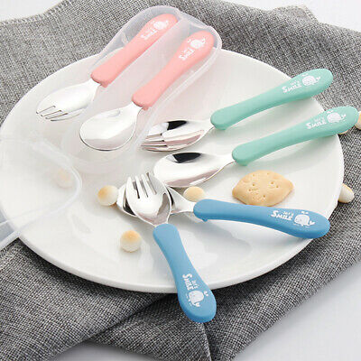 2pcs /set Lovely Stainless Steel Baby Tablespoon Fork Kids Feeding Baby Spoon Z