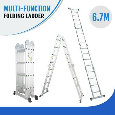 6.7M Multi Purpose Aluminium Folding Extension Ladder Step Telescopic AUS