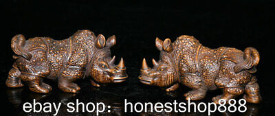 """4.4"""" Old China Boxwood Hand-carved Feng Shui rhinoceros armor Luck Statue Pair"""