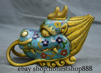 """7.2"""" Masked Old Chinese Cloisonne Enamel Copper Palace Handle Dragon Head Pot"""