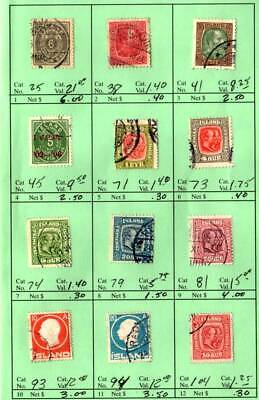 Iceland ~ Lot / Collection 53 Different Stamps Scott # 25 - 317 ~ Used