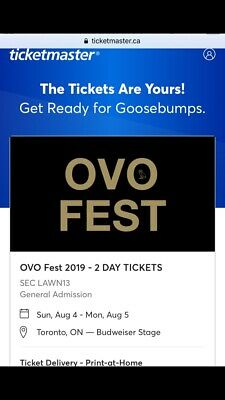OVO Fest 2019 August 5 Lawn Tickets Drake OVOXO