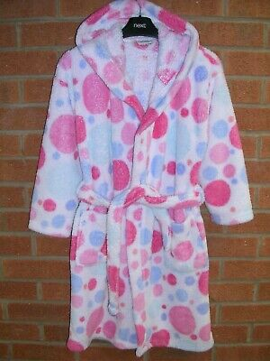NEXT Girls Turquoise Pink Spots Soft Fleece Dressing Gown Pyjamas Age 9-10 140cm