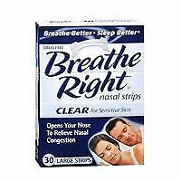 Breathe Right Nasal Strips Clear For Sensitive Skin Large 30 Each (Pack of 5)