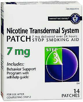 Habitrol Nicotine Transdermal System Patches 7 mg Step 3 - 14 Patches Pack of 6