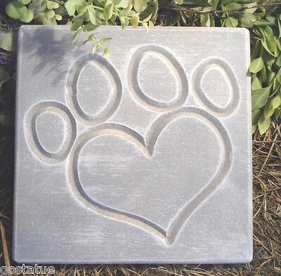 "Heart paw print stepping stone mold concrete plaster mold 11' x 11"" x 1.20"""