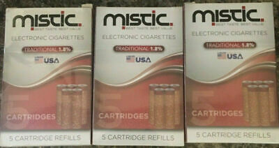 LOT of 3 NIB MISTIC ELECTRONIC CIGARETTE 5 CARTRIDGE REFILLS TRADITIONAL 1.8%
