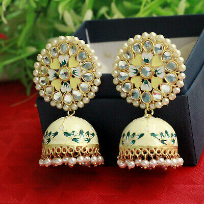 Indian Handpainted Yellow Kundan Meenakari Gold Tone Earring Jhumka Jhumki Polki