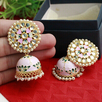 Indian Bollywood Gold Tone Celebrity Style Pink Meenakari Earrings Jhumka Jhumki