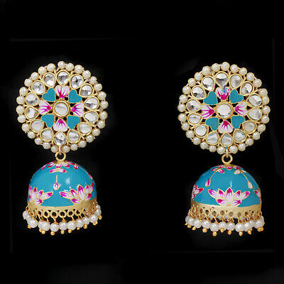 Indian Floral Hand Painted Meenakari 18k Gold Blue Jhumka Jhumki Earring Jewelry