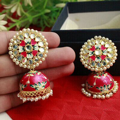 Indian Bollywood Rani Handpainted Kundan Meenakari Earrings Jhumka Jhumkis Polki