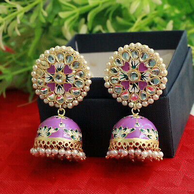 Indian Handpainted Handcrafted Gold Tone Meenakari Earrings Jhumka Jhumki Polki