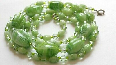 Czech Vintage Art Deco Swirled Green Graduated Oval Glass Bead Necklace Signed