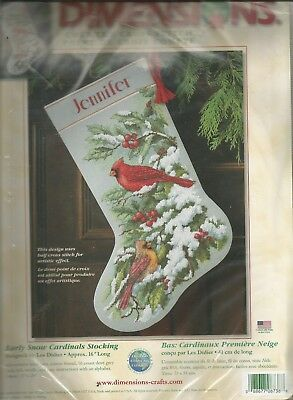 Dimensions Stocking  Cross stitch kit Vintage Early Snow Cardinals Stocking 8738