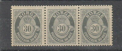 Norway 1910 30 ore Grey Posthorn strip of 3 MNH , SG 148