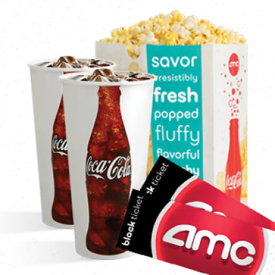 AMC Theaters  2 Black Movie Tickets, 1 Large Popcorn, and 2 Drinks Fast Delivery