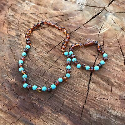 SET  Brown Amber & Aqua Turquoise Bead Necklace and Bracelet Set