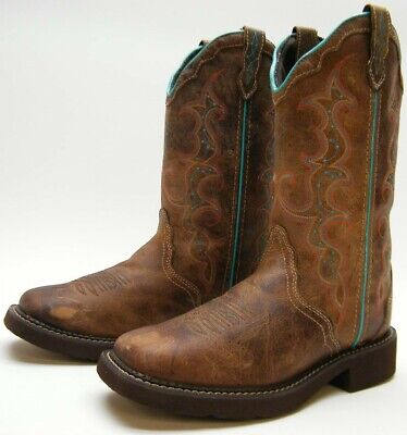 88353c8b123 JUSTIN BOOT CO GYPSY LEATHER WESTERN BOOTS Saddle Vamp Roper Cowboy ...