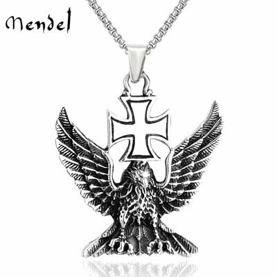 MENDEL Mens WW2 Nazi Germany Iron Cross Eagle Pendant Necklace Stainless Steel