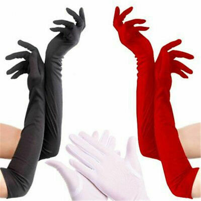 Ladies Long Wrist Gloves Smooth Satin For Party Dress Prom Evening Wedding