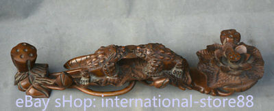 """16"""" Old Chinese Dynasty Huanghuali Wood Golden Toad Lotus Flower Lucky Ruyi"""