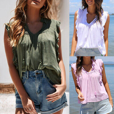 Fashion Women Ruffle Sleeveless Casual Shirt Top Blouse T-Shirt Tank Top W