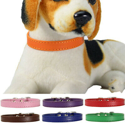 Pet Dog Cat PU Faux Leather Necklace Neck Strap Puppy Buckle Bell Collar DEN