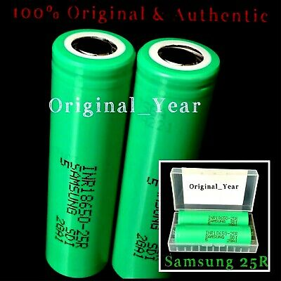 2 Samsung 25R 18650 2500mAh 35A High Drain Rechargeable Battery Free Case