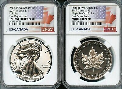 2019 W Pride Of Two Nations U.S. Set First Day Of Issue NGC Enh Rev/Mod PF70