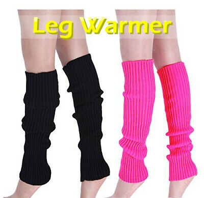 LOT Ladies Girls Teen 80's Dance Plain Ribbed Leg Warmers Legwarmer Fancy Dress